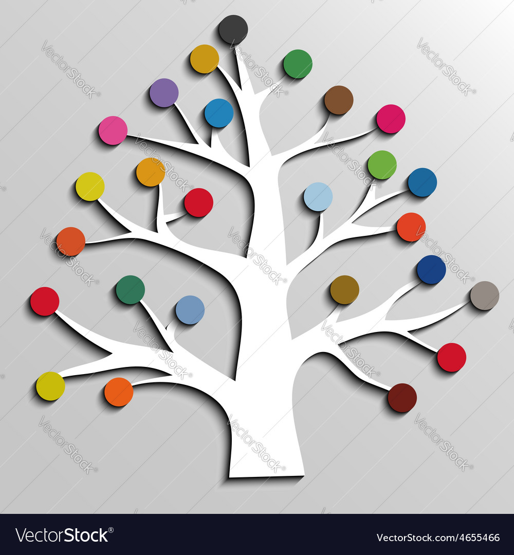 Paper tree with colorful circles infographic vector