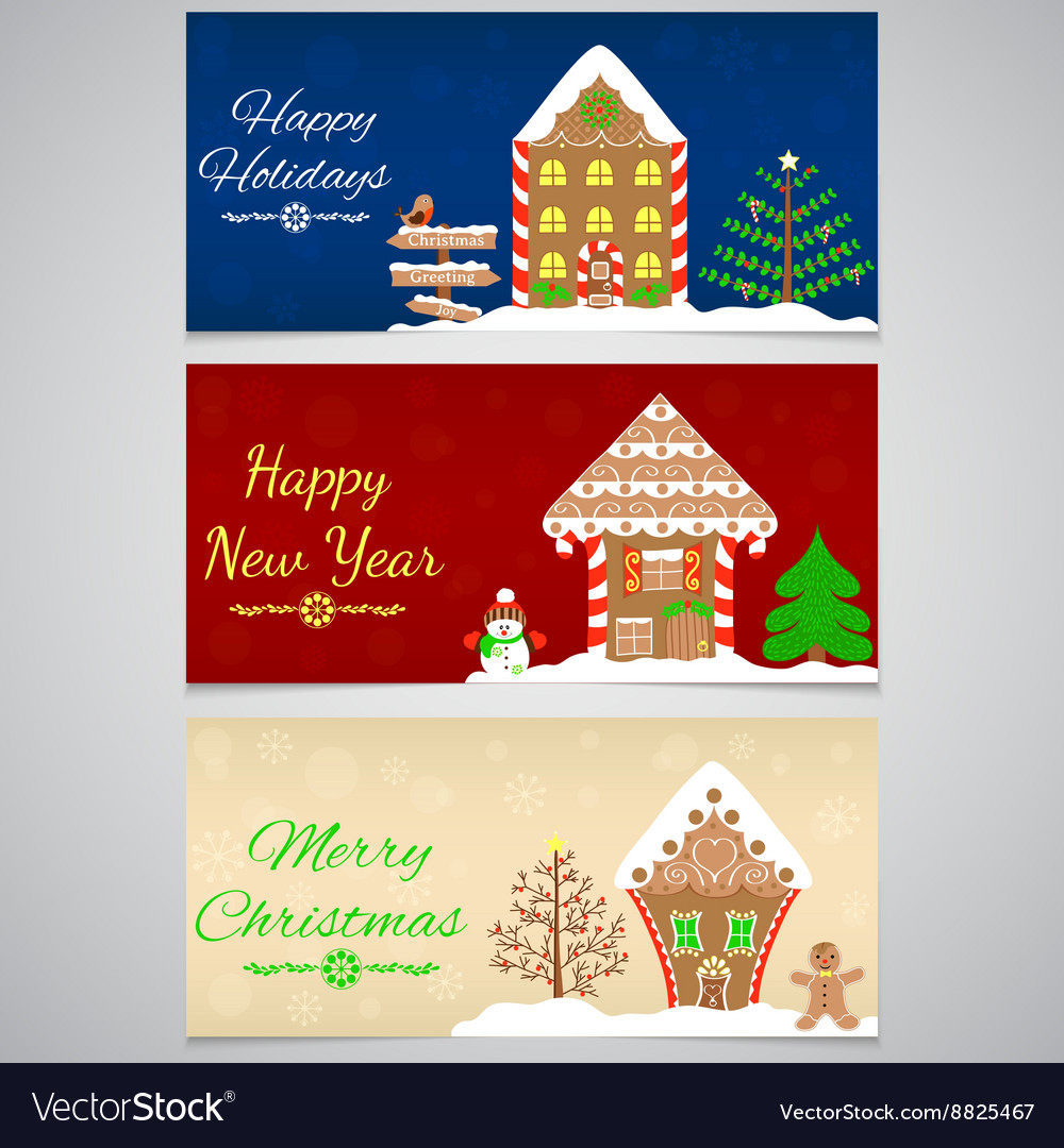 3 new year christmas banners vector