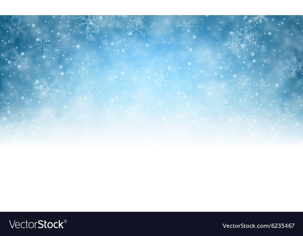Christmas blue background with snow vector