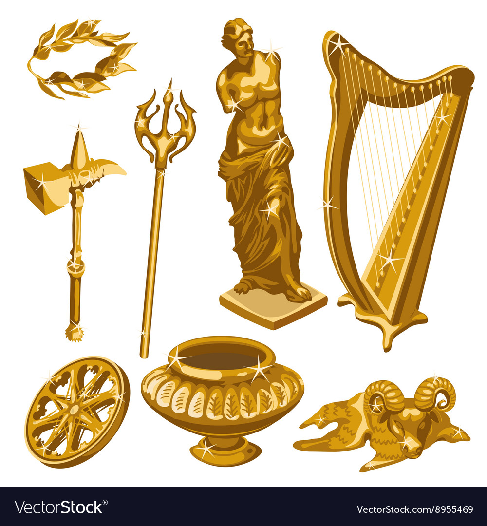 Harp statue weapons and other items of antiquity vector