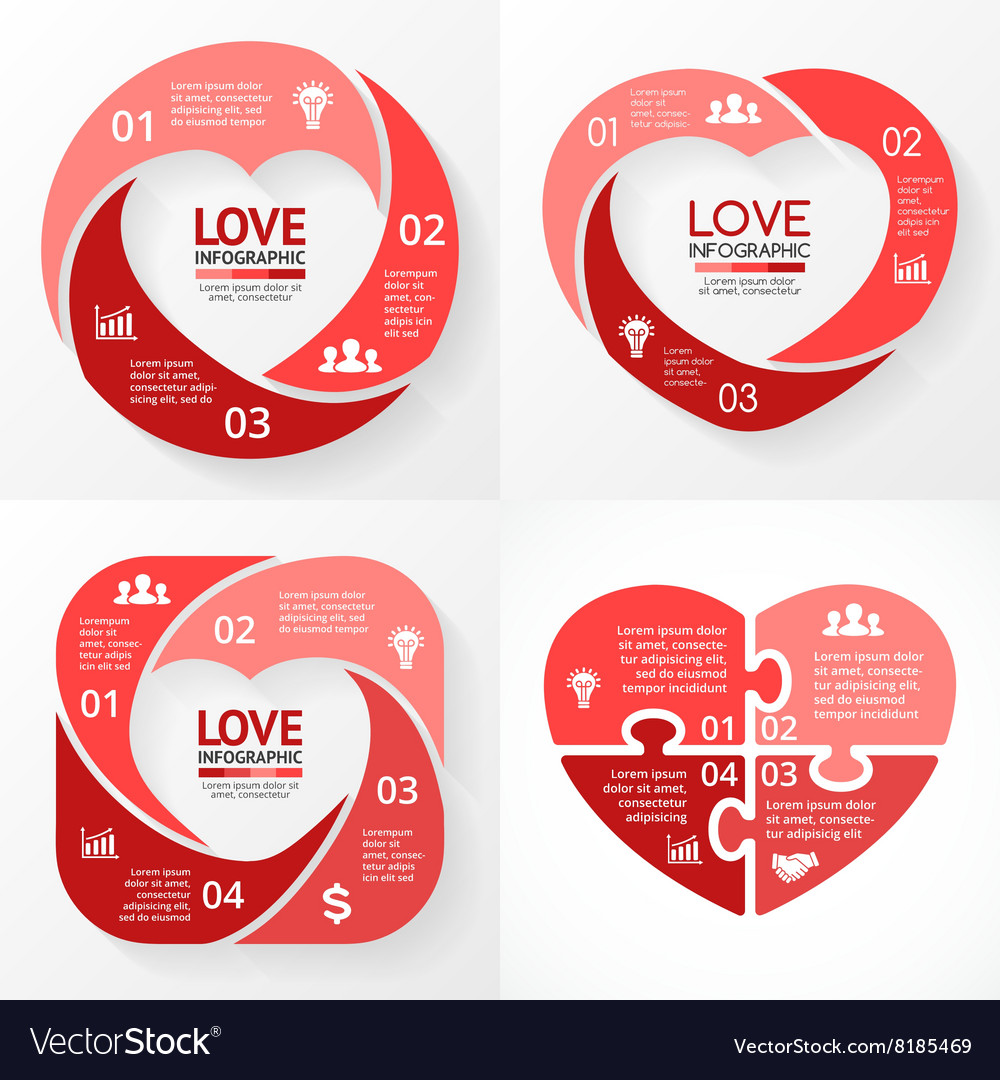 Heart circle infographic template for love vector
