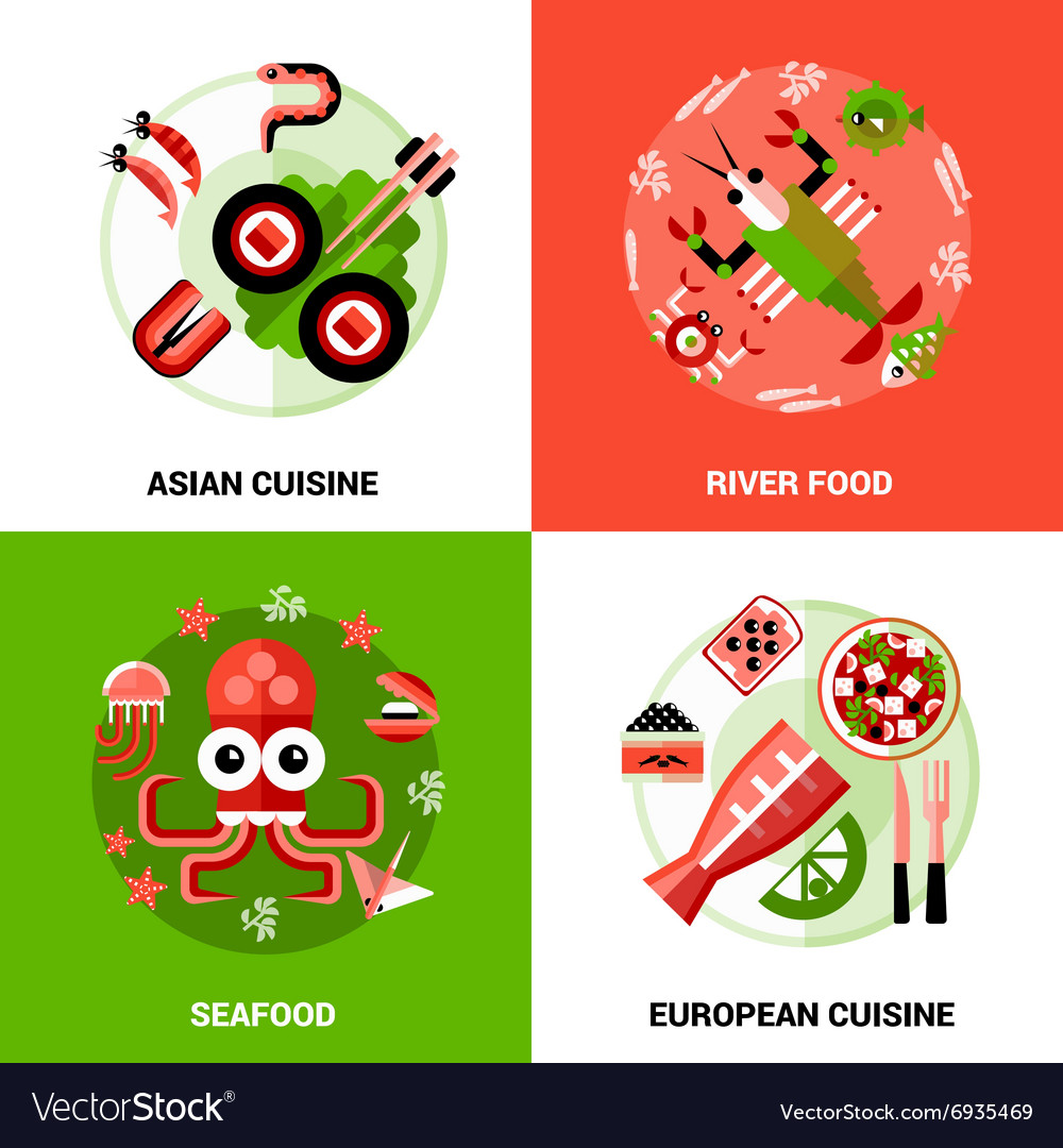 Seafood design concept vector