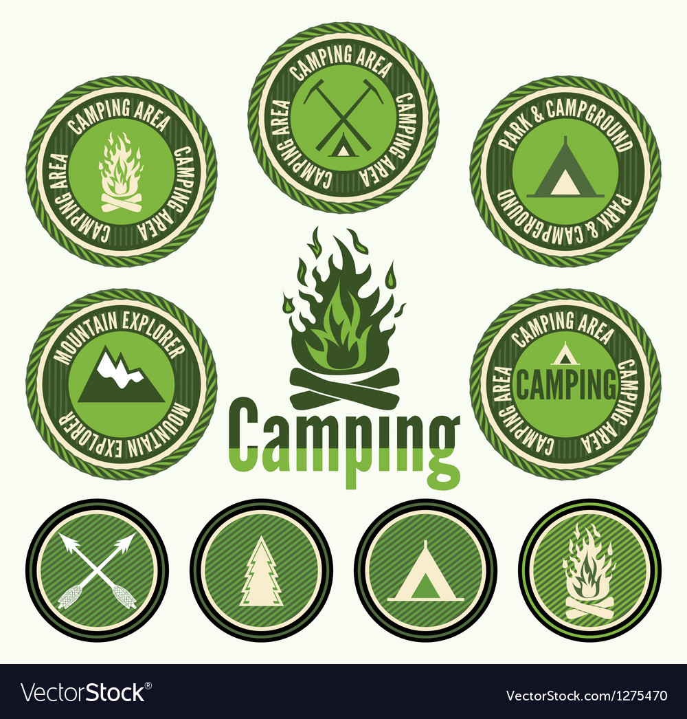 Set of retro camping badges and labels vector