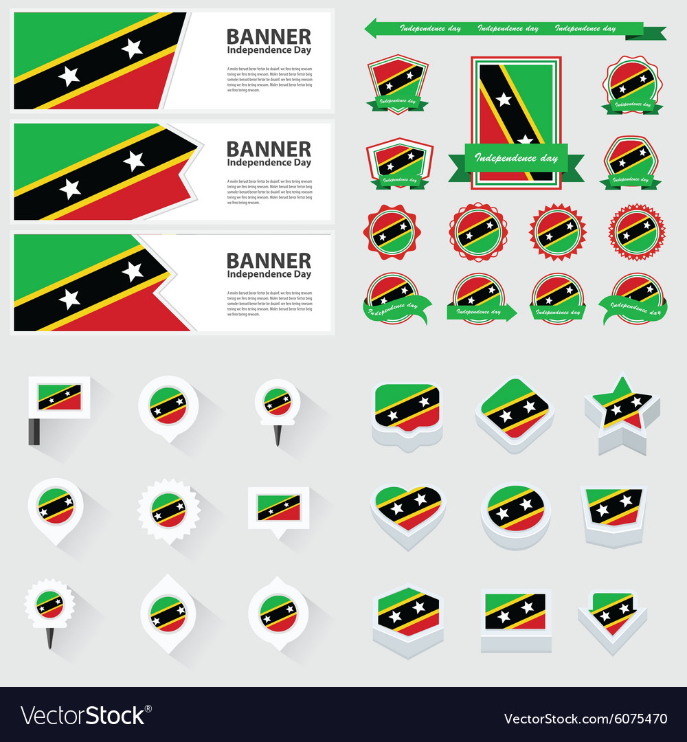 Set st kitts nevis vector