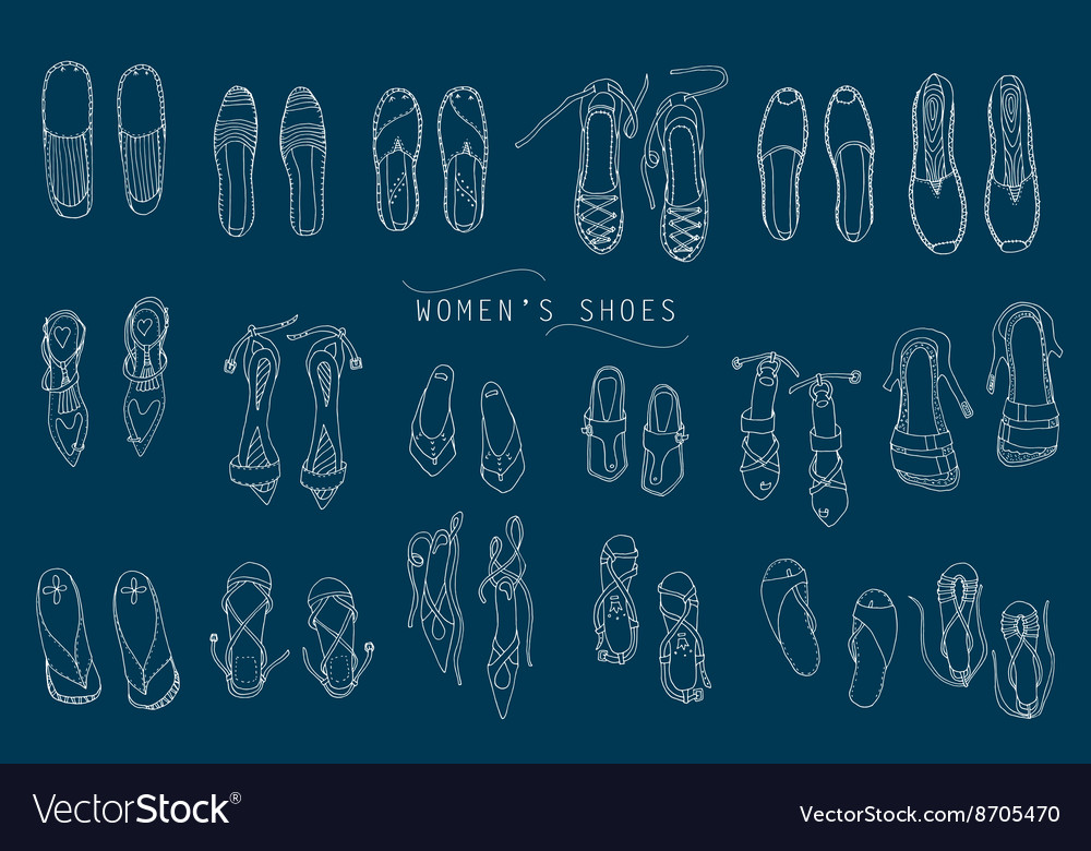 Womens lineart shoes vector