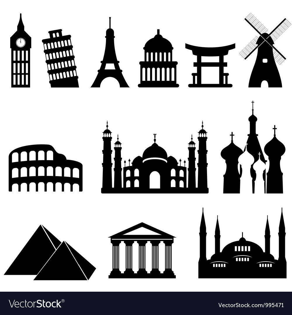 Around the world icons vector