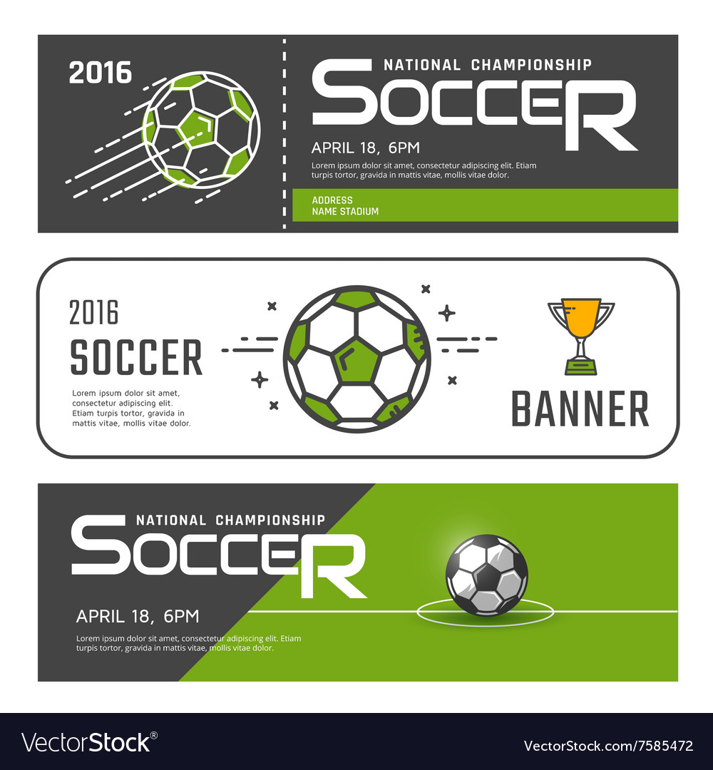 Set of soccer banners vector