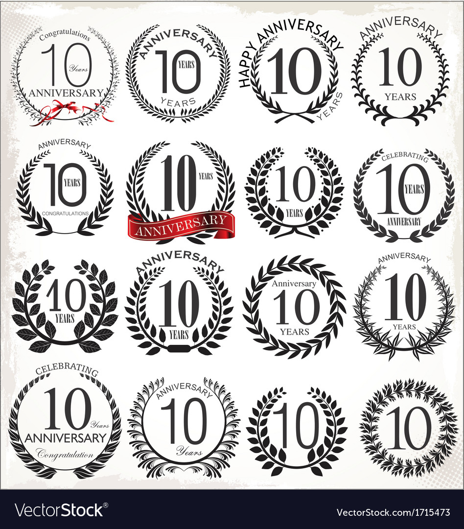 10 years anniversary laurel wreaths vector