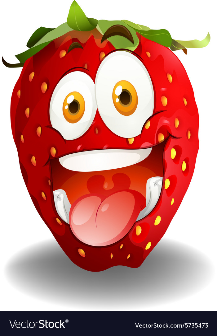 Funny red strawberry face vector