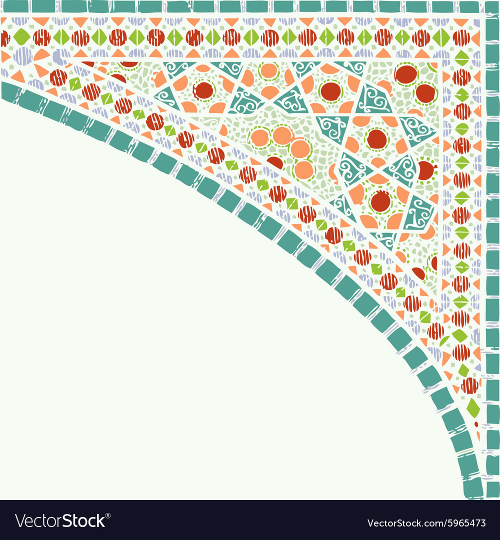 Geometric corner frame pattern ethnic colorful vector