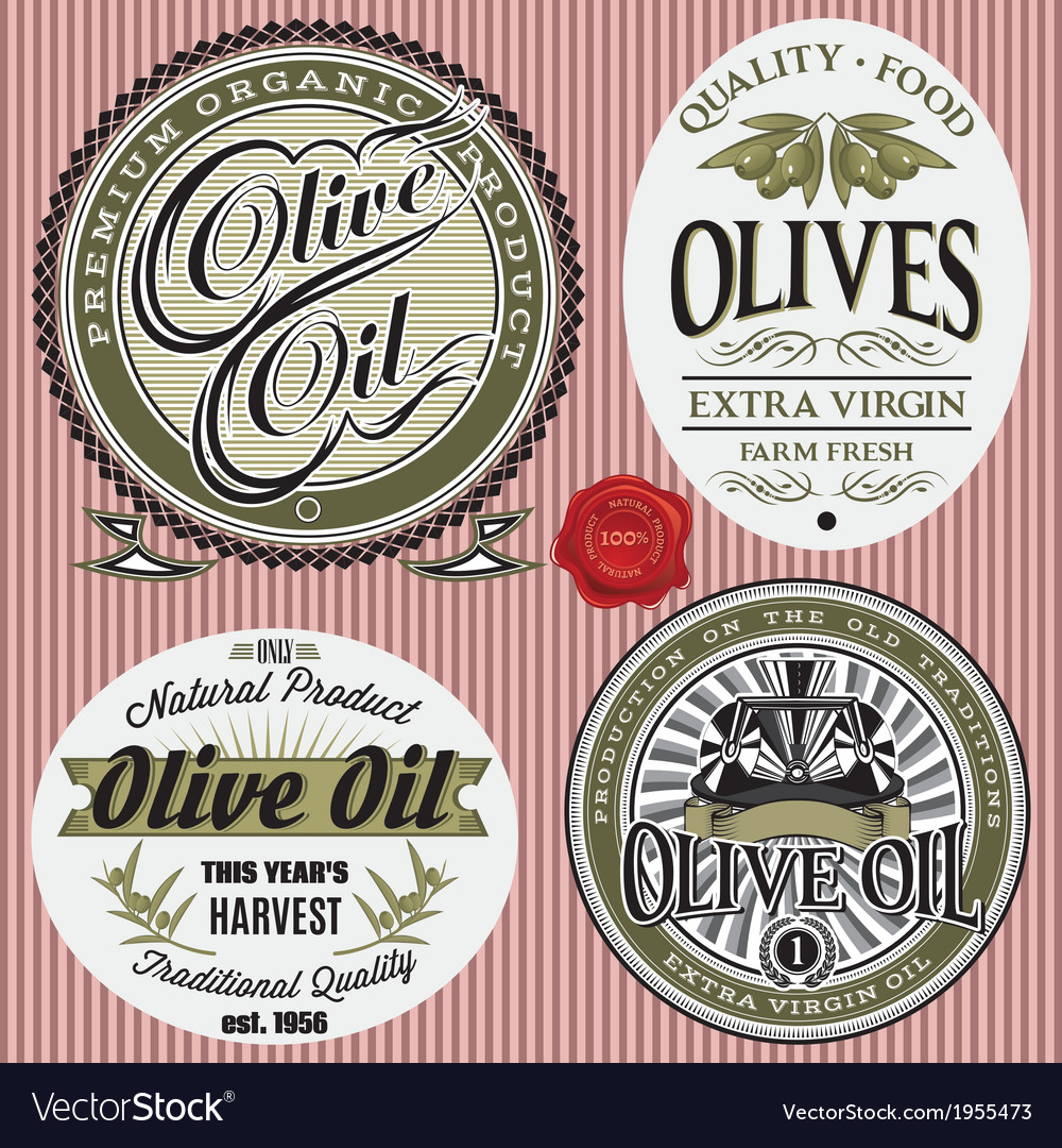 Set of labels for olives oil vector