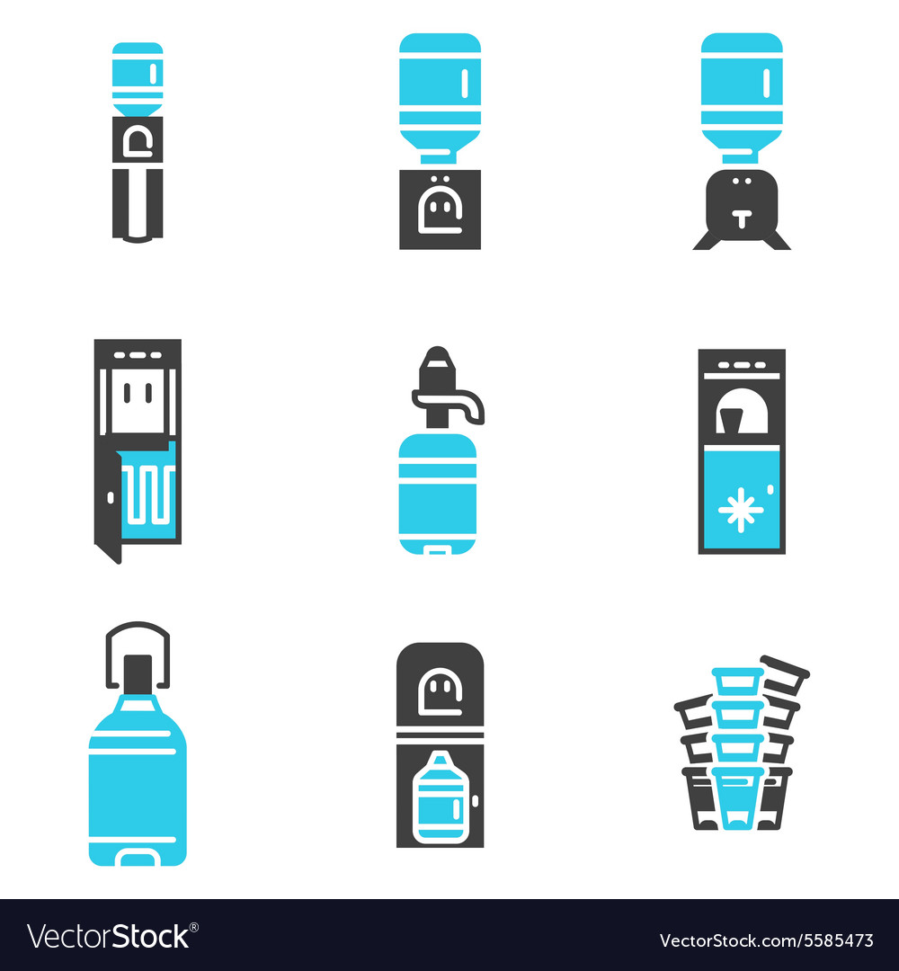 Water cooler supplies flat icons set vector