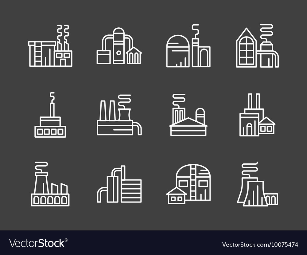 Set of industry plants white line icons vector