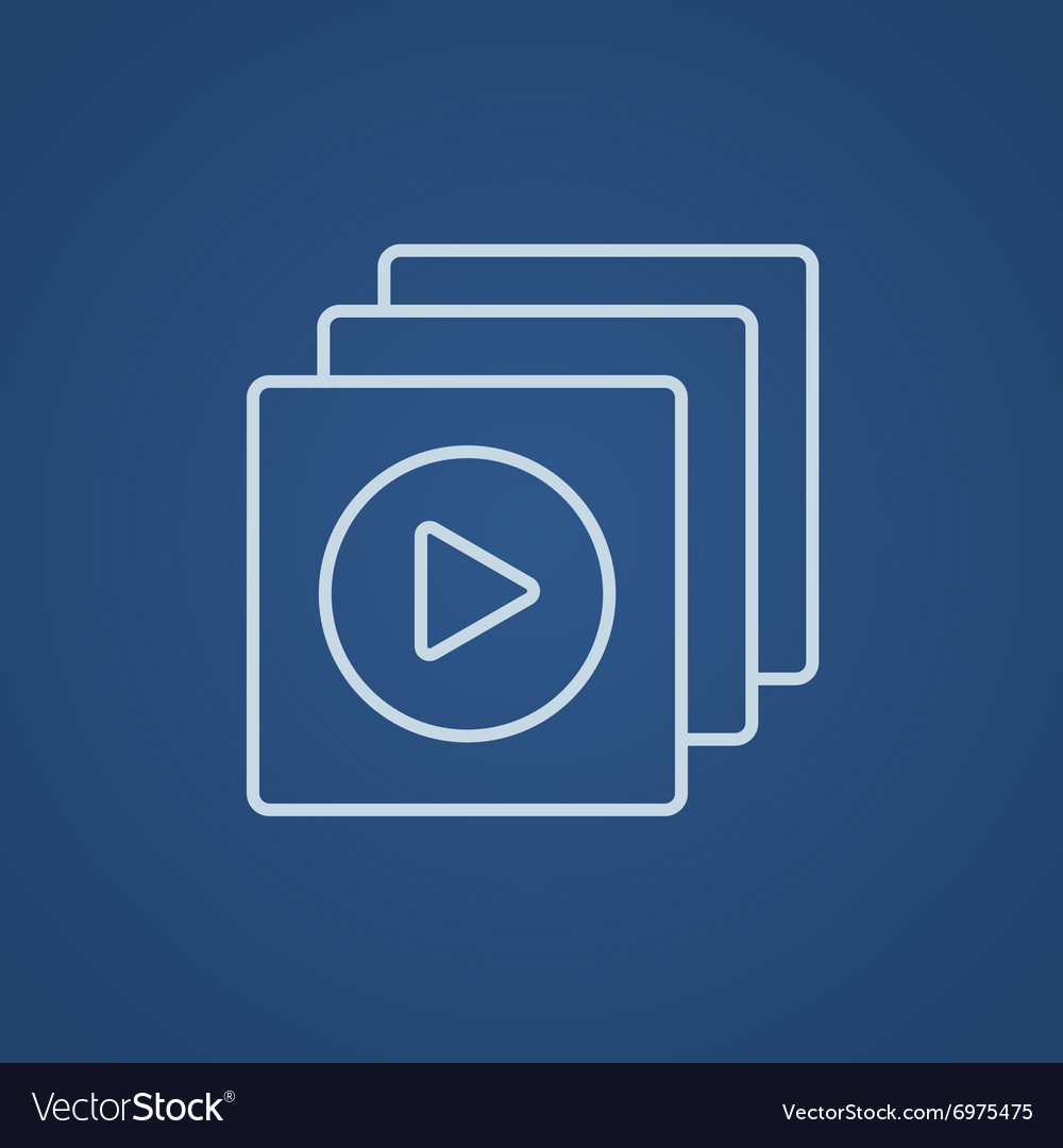 Media player line icon vector