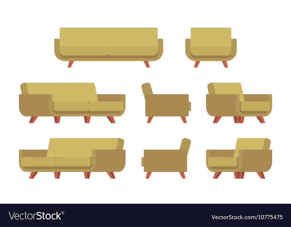 Set of retro sofa and armchair vector