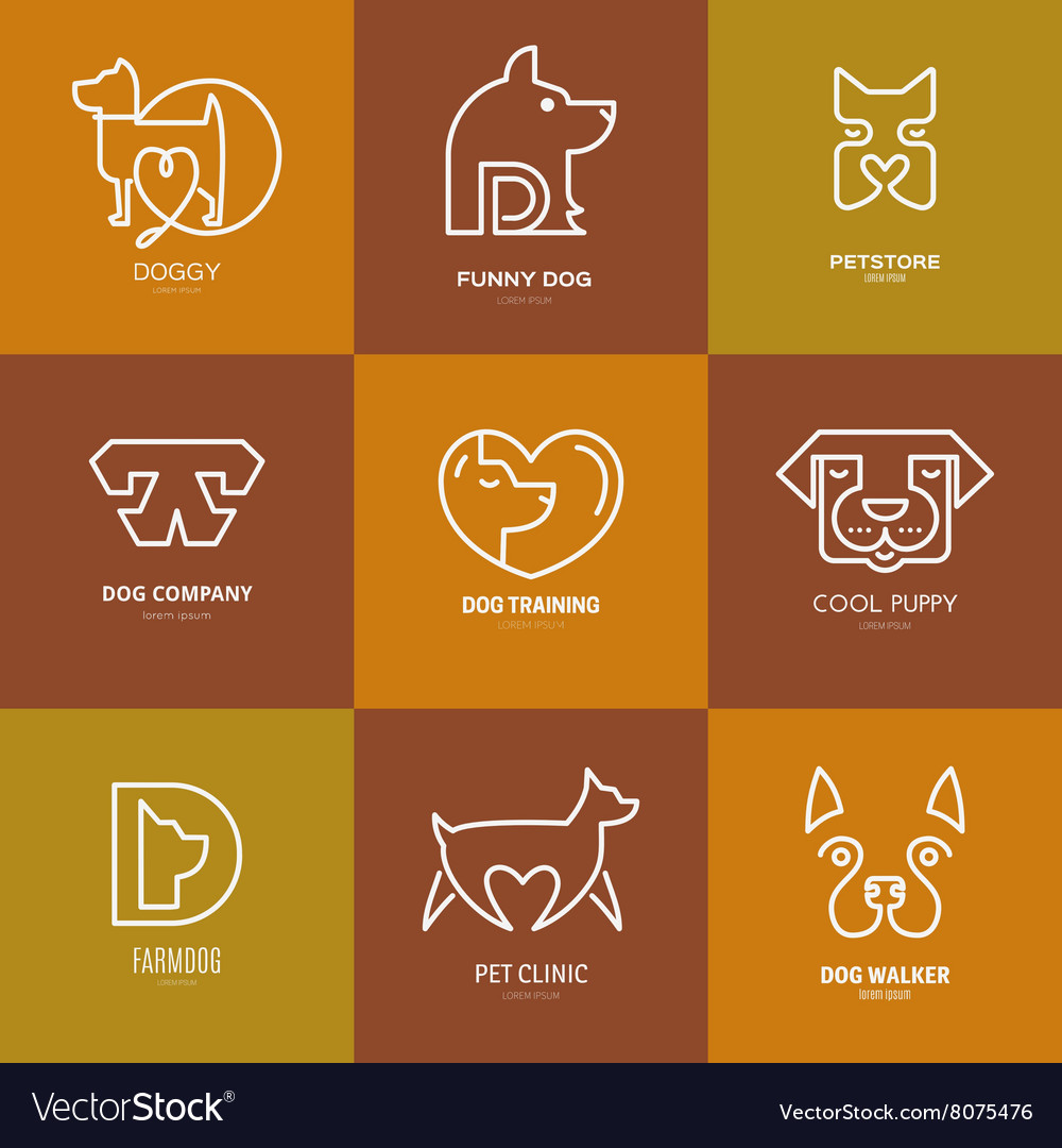 Dog linear labels vector
