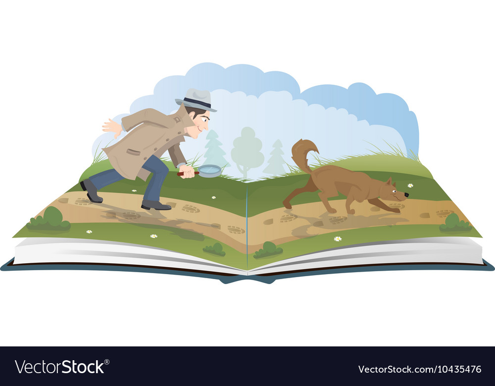 Open book about detective with magnifying glass vector