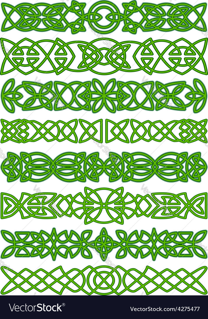 Floral celtic borders with traditional ornament vector