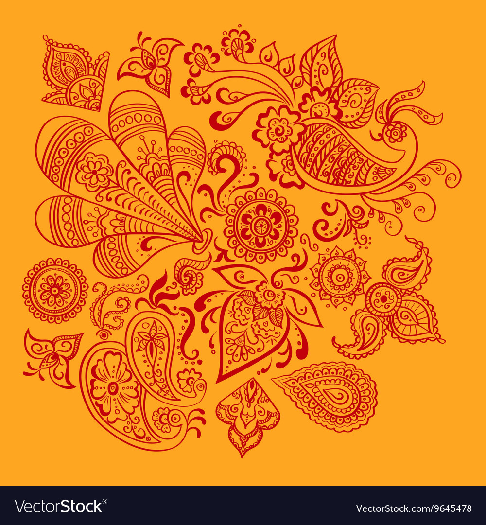 Indian floral ornament vector