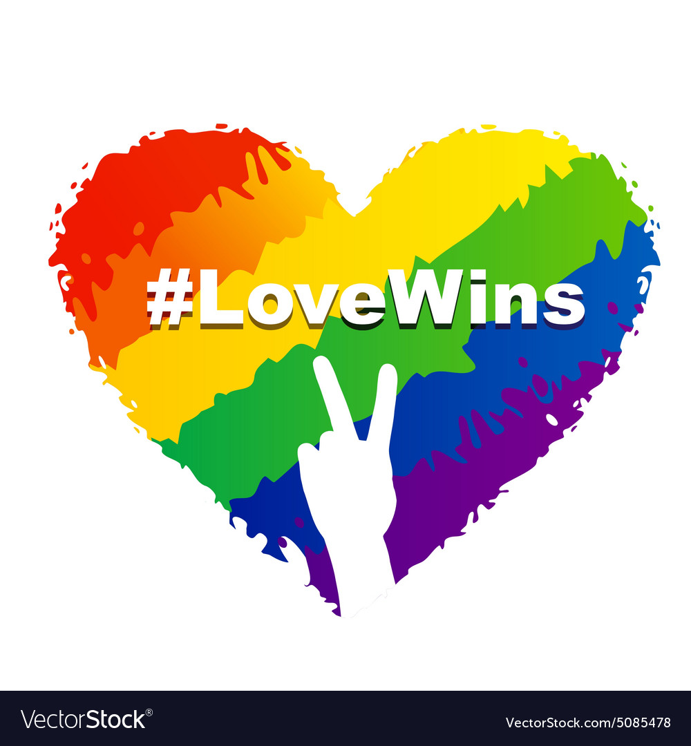 Love wins  lgbt heart vector