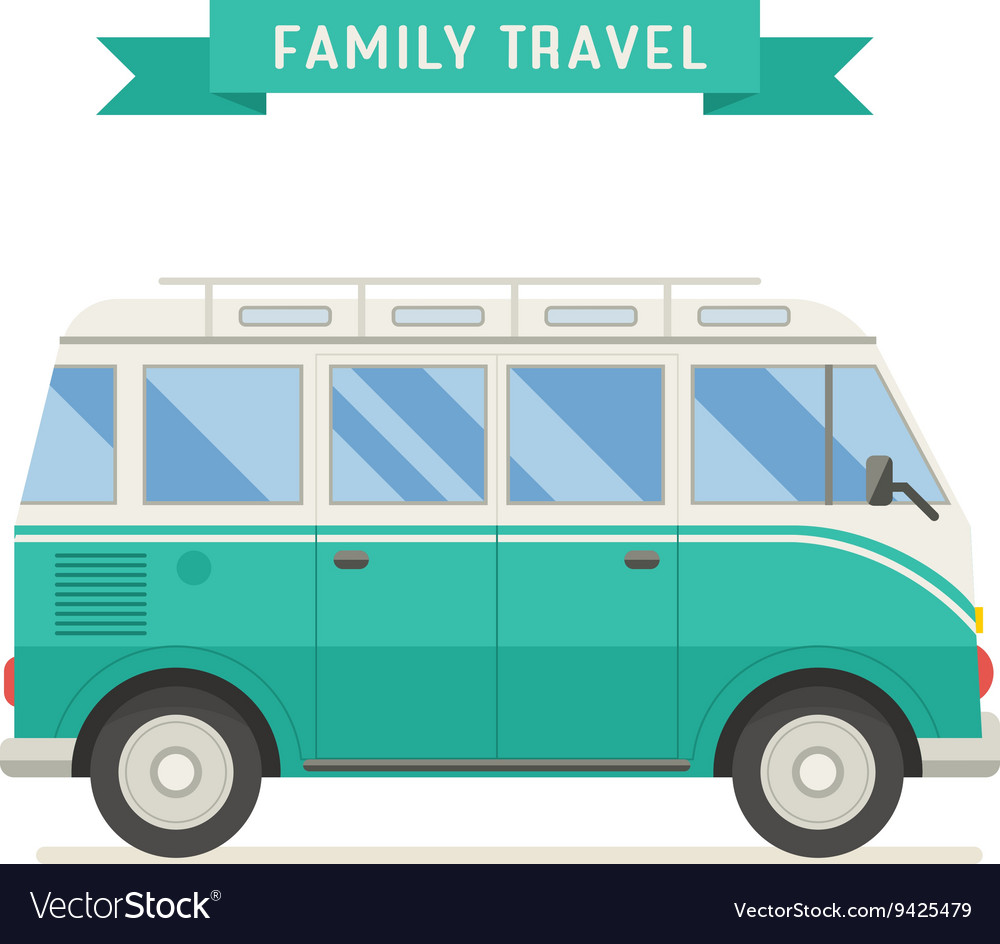 Family travel bus in flat design vector