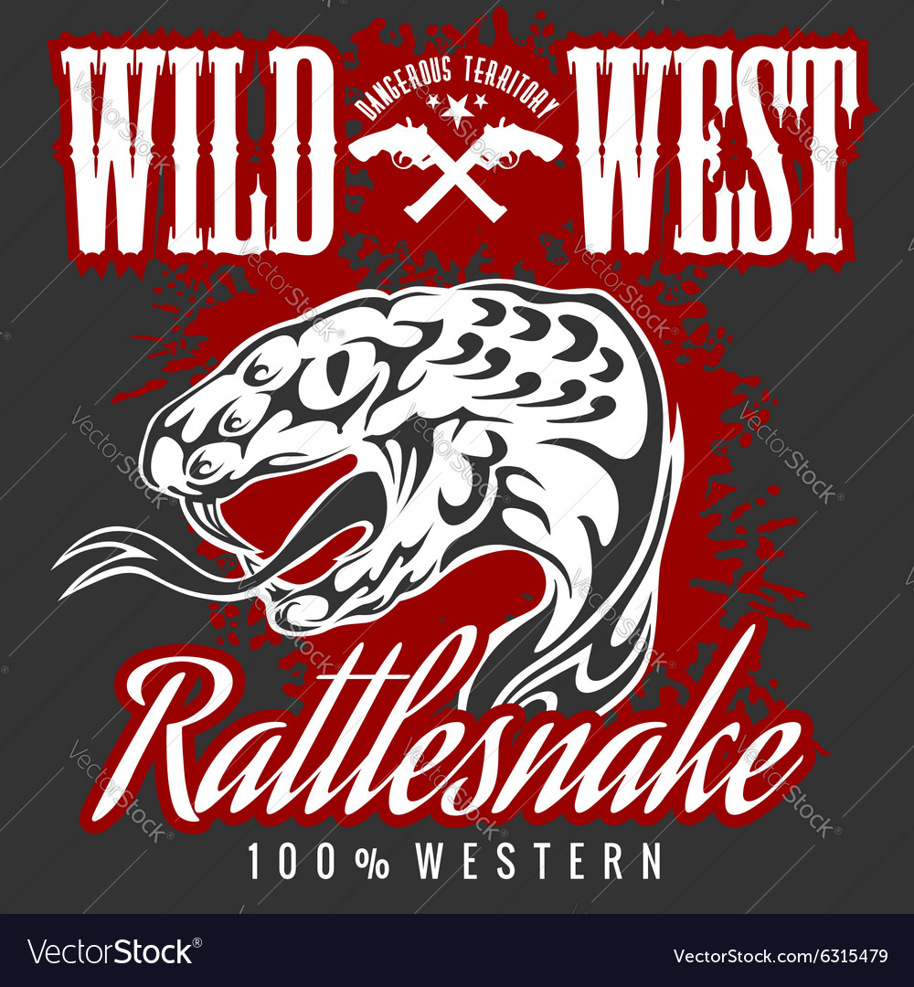 Wild west and rattlesnake  vintage artwork vector