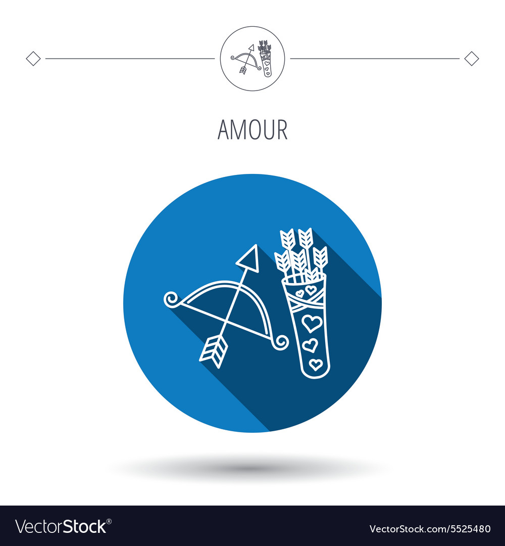 Amour arrows and bow icon valentine weapon sign vector