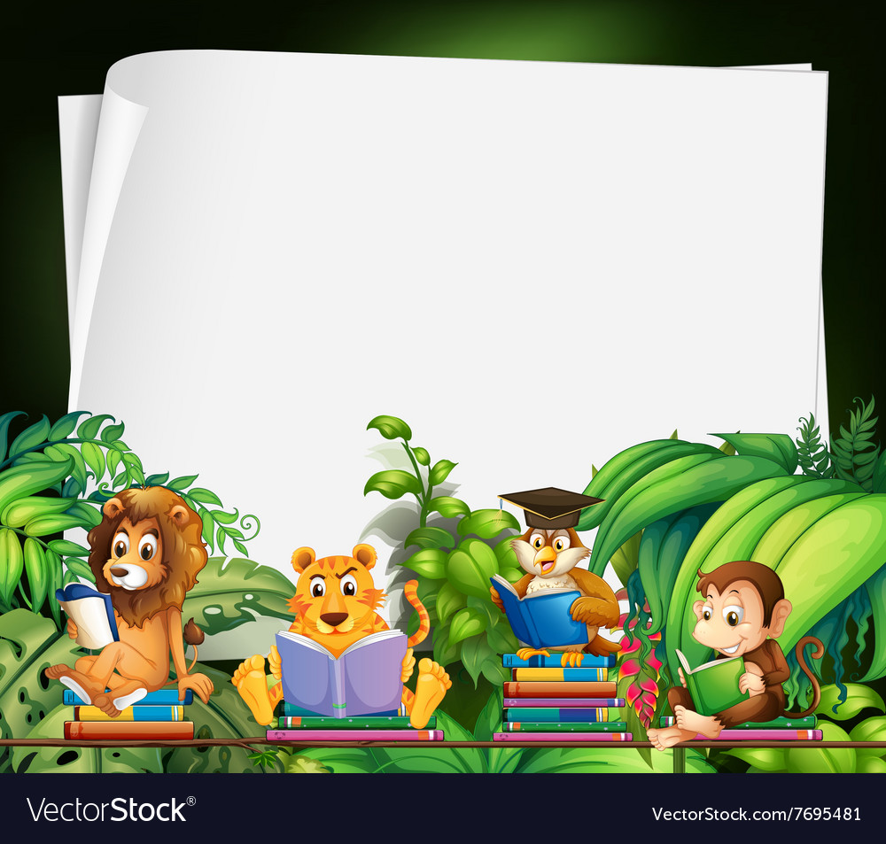 Border design with wild animals reading books vector