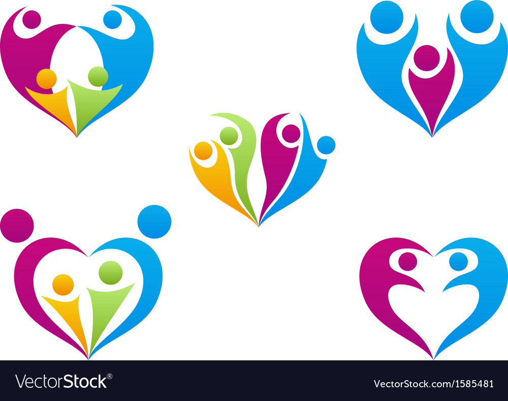 Love of family icon collection set vector