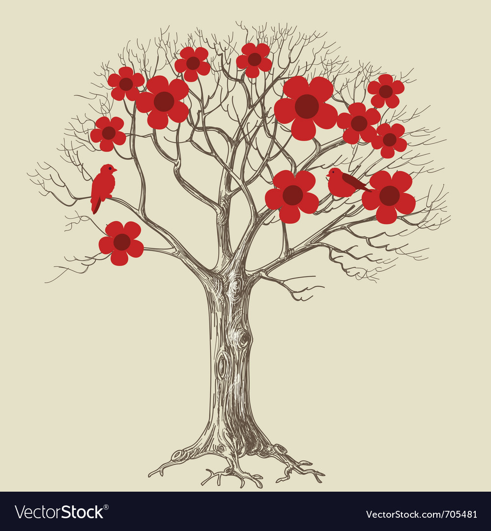 Tree in bloom vector