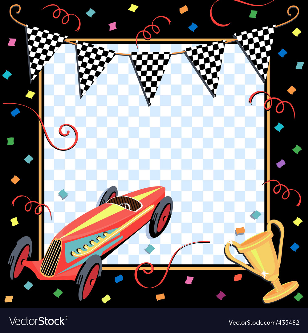 Race car party invitation vector