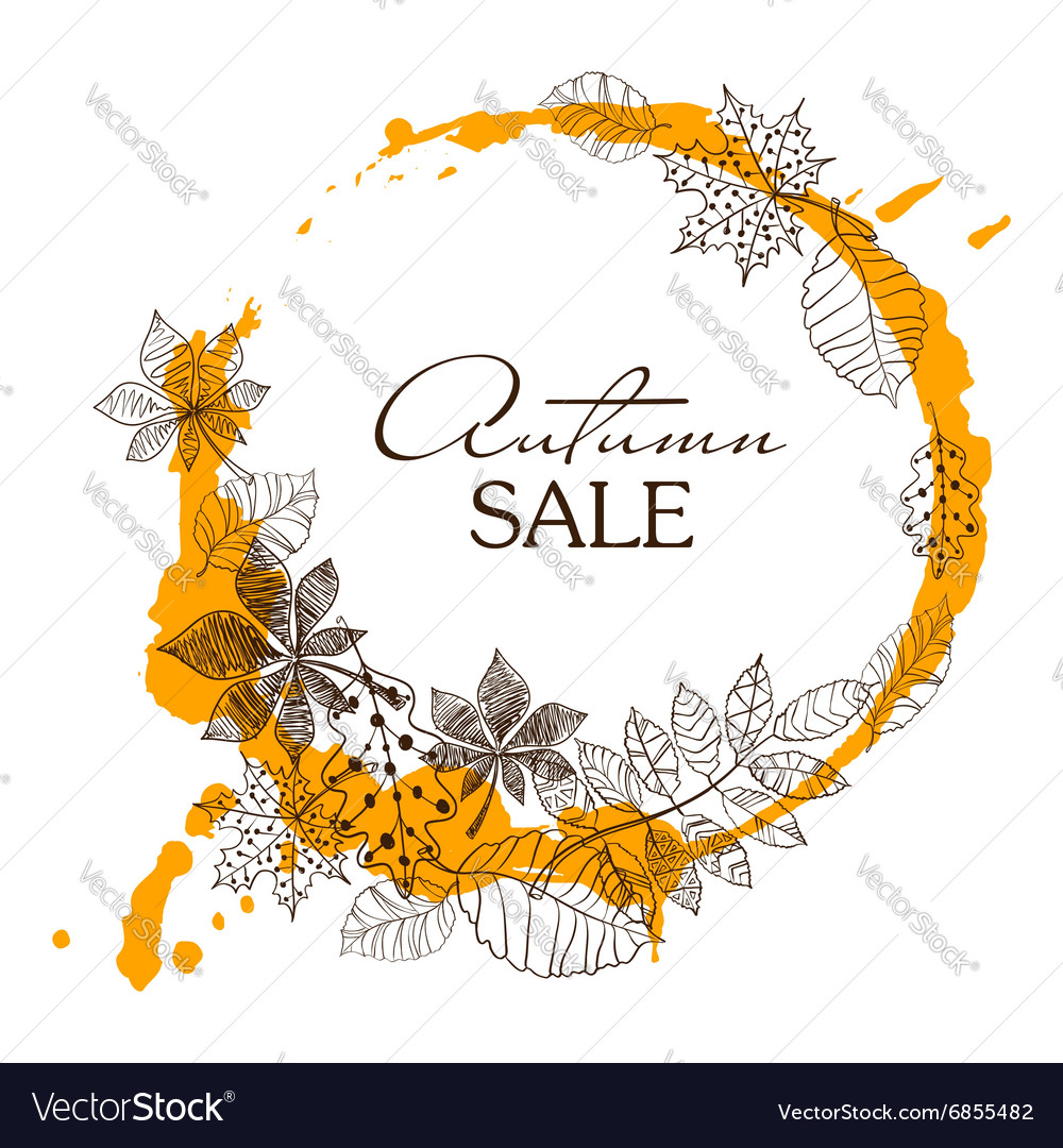 Sketch patterned autumn leaves in a circle shape vector