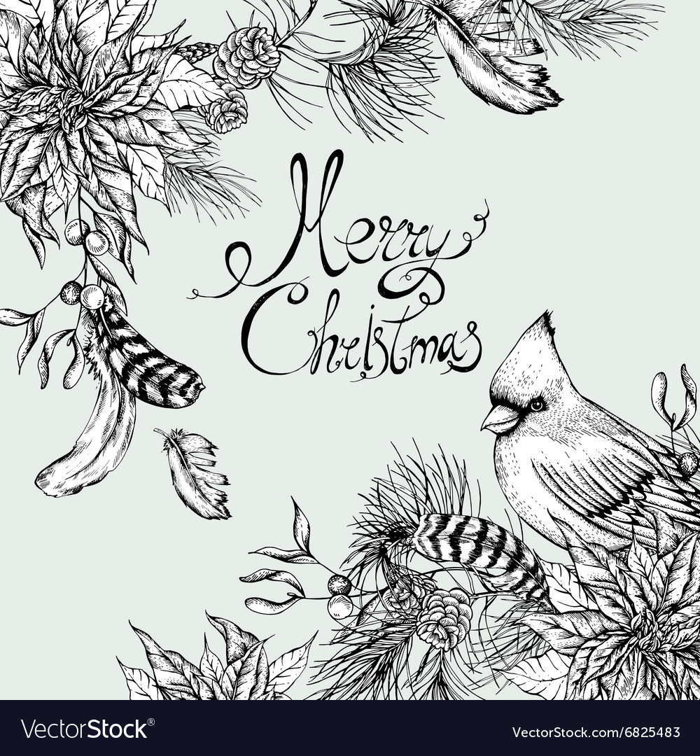 Monochrome christmas vintage floral greeting card vector