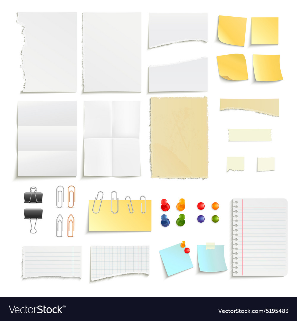 Paper notes and clips object set vector