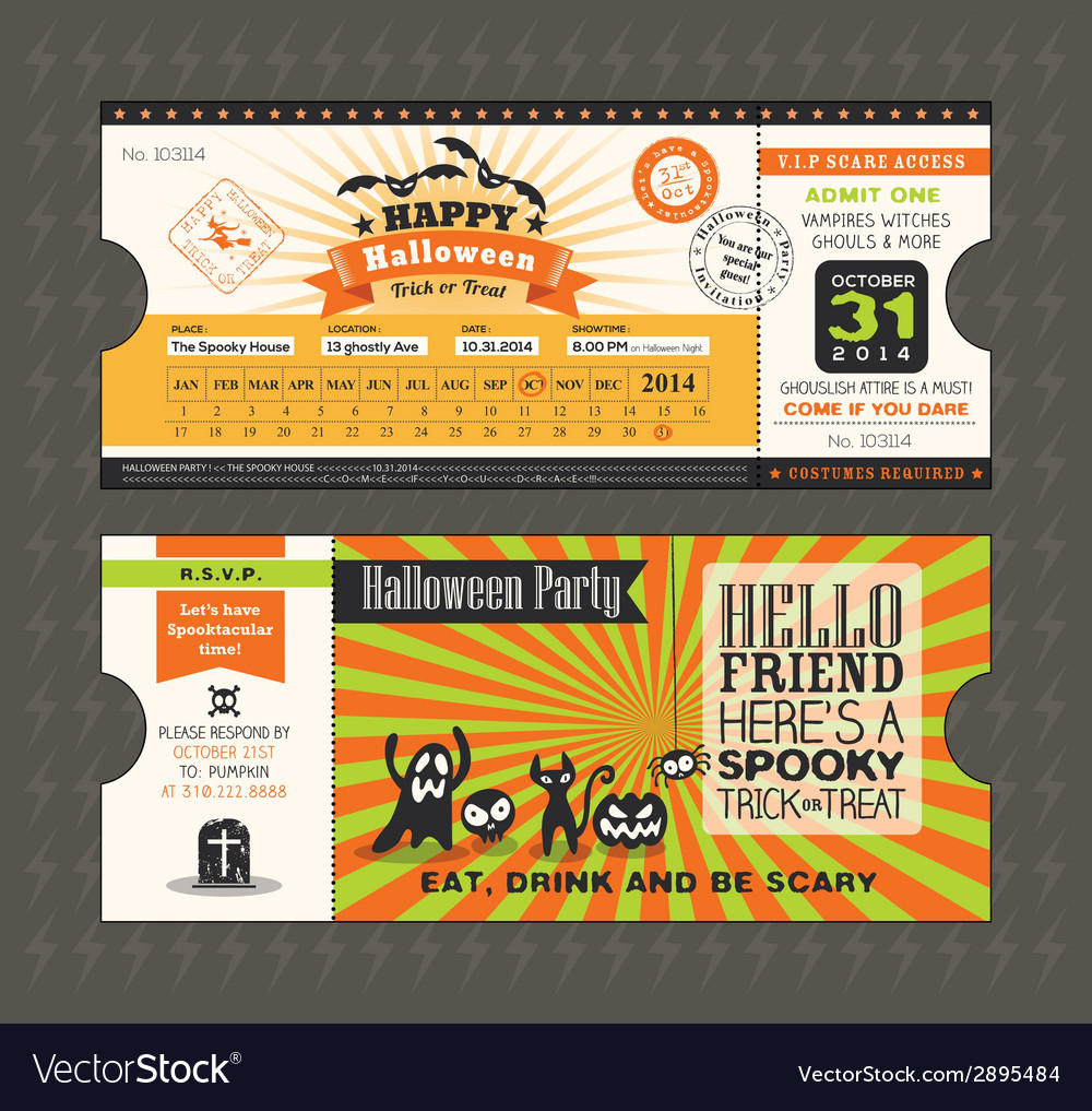 Halloween party card in train ticket pass style vector