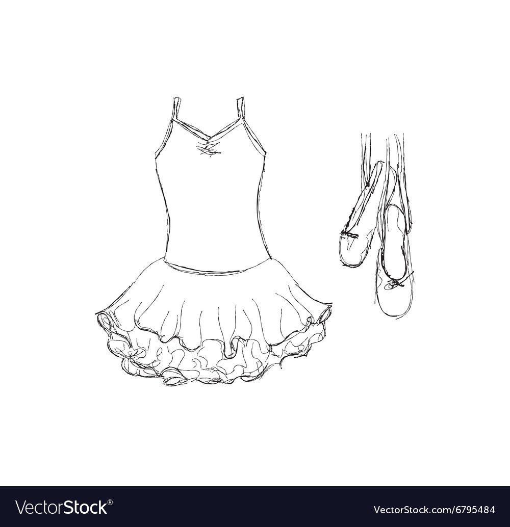 Hand drawn ballet tutu and shoes vector