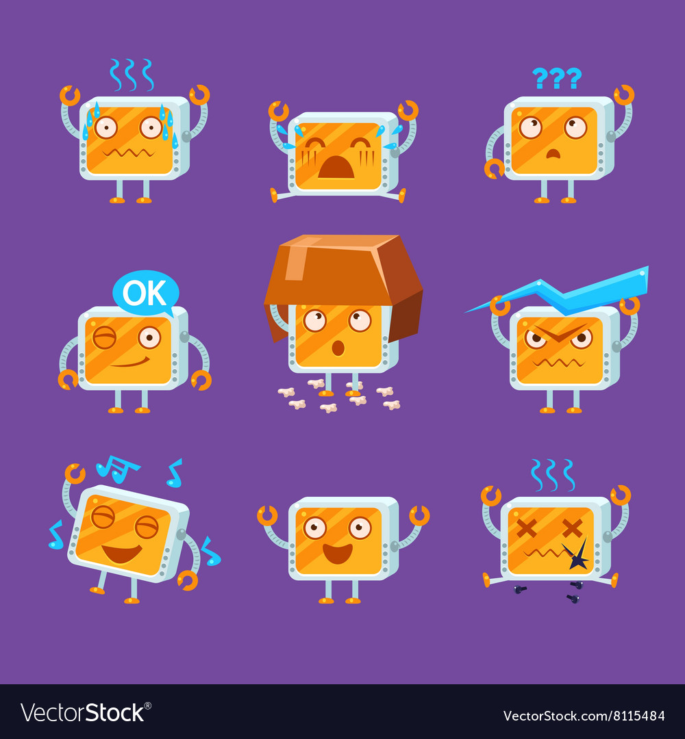 Little robot emoji set vector