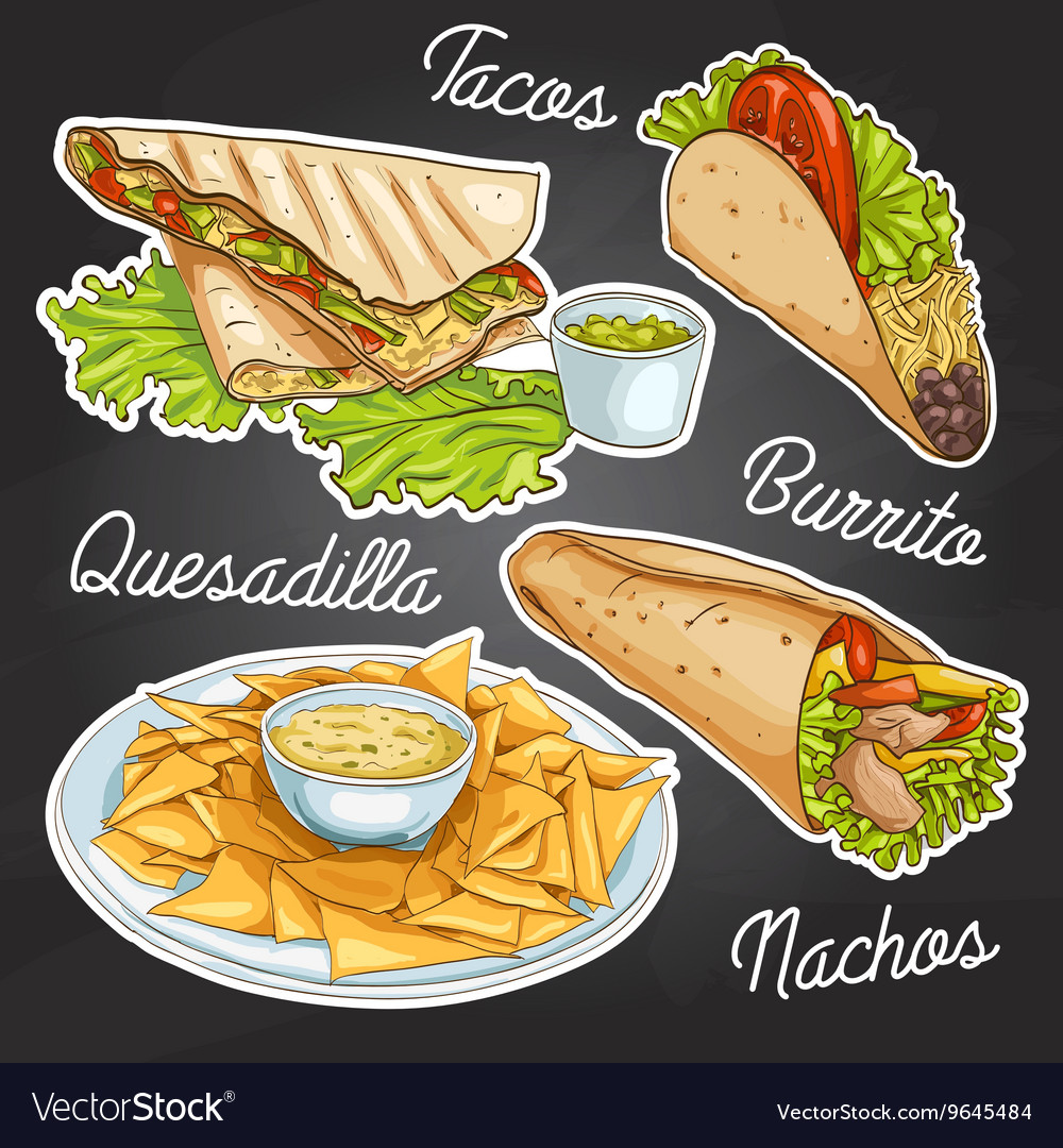 Mexican food on a black board vector