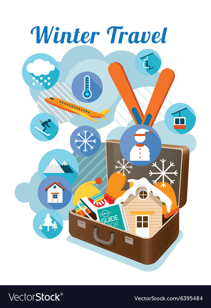 Suitcase with winter objects and icons vector