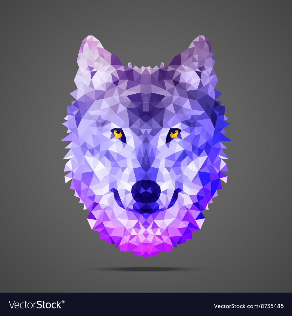 Wolf low poly side light purple vector