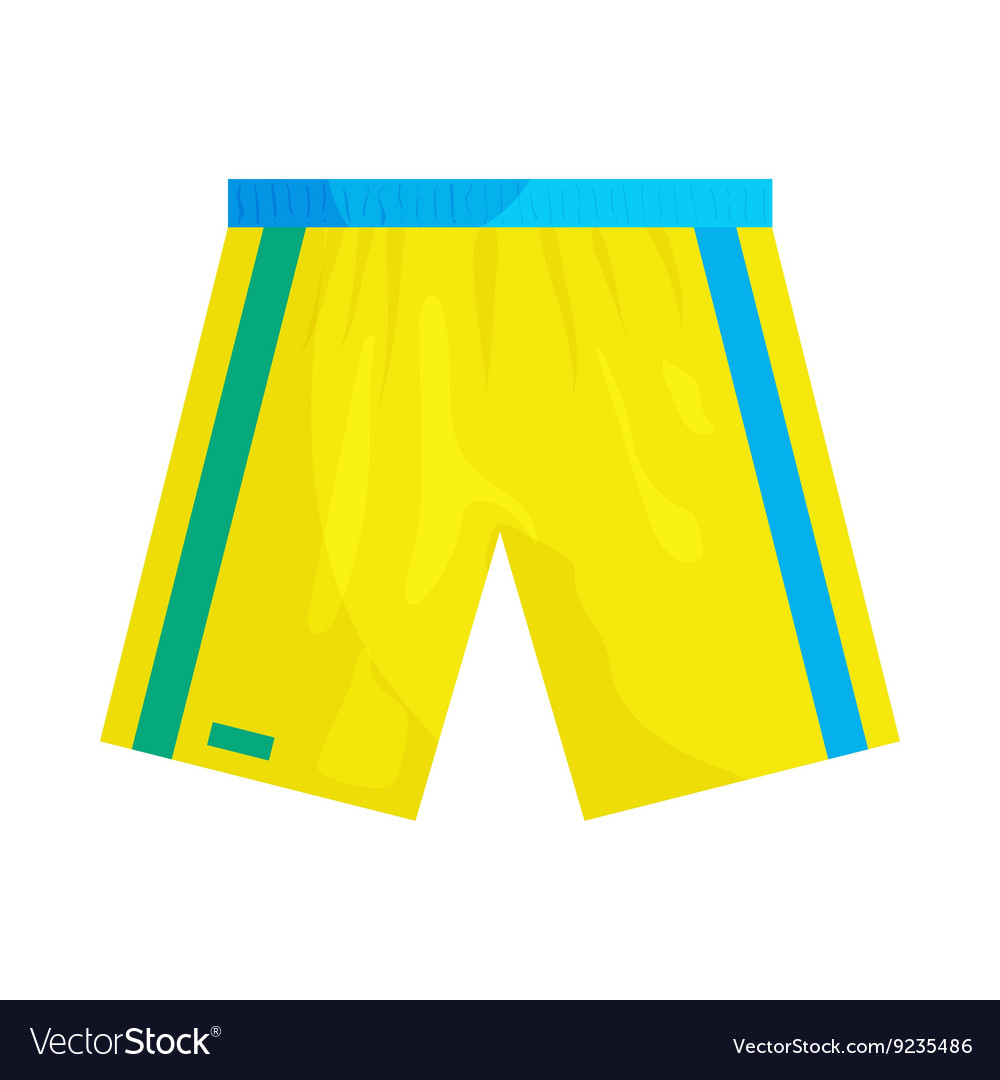 Yellow sports shorts icon cartoon style vector