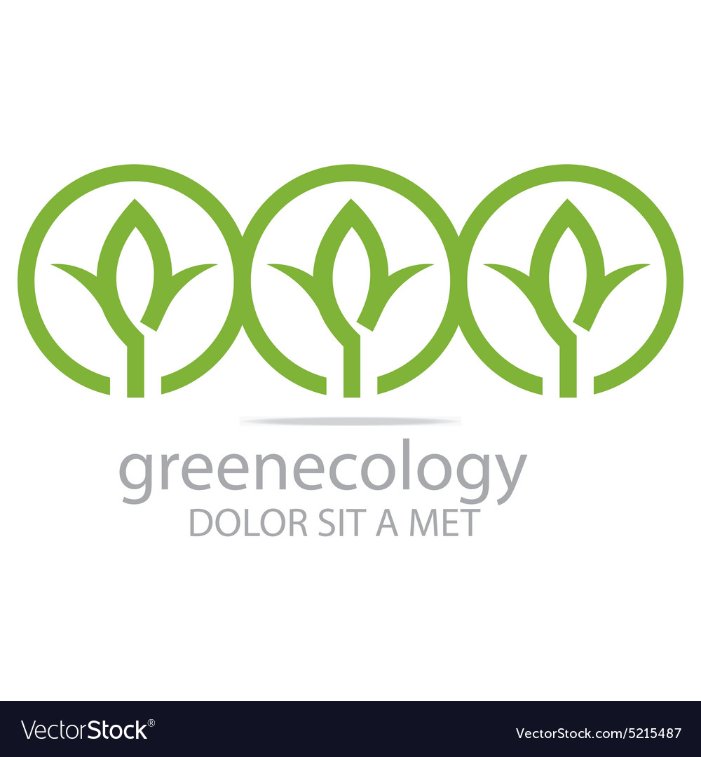 Abstract logo leaves green ecology circle design vector
