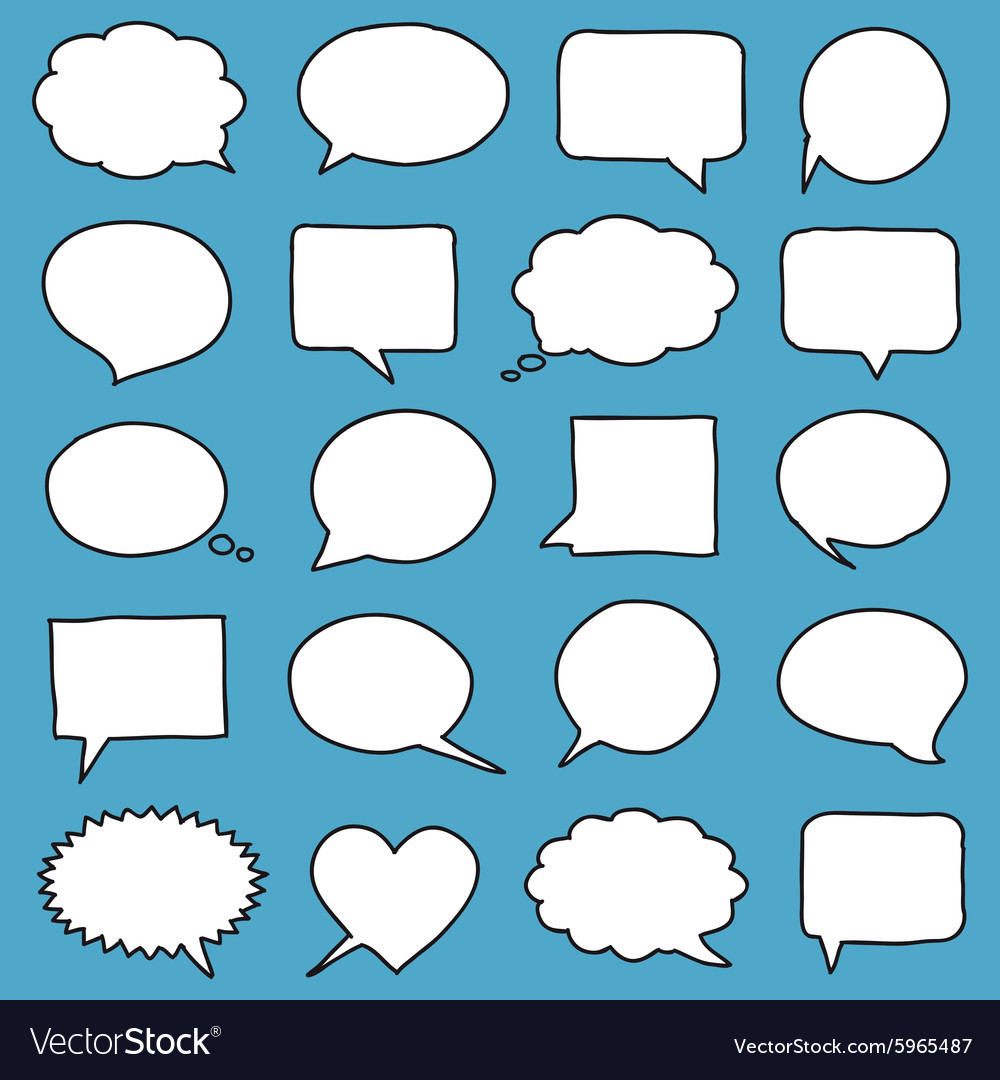 Handdrawn speech bubbles vector