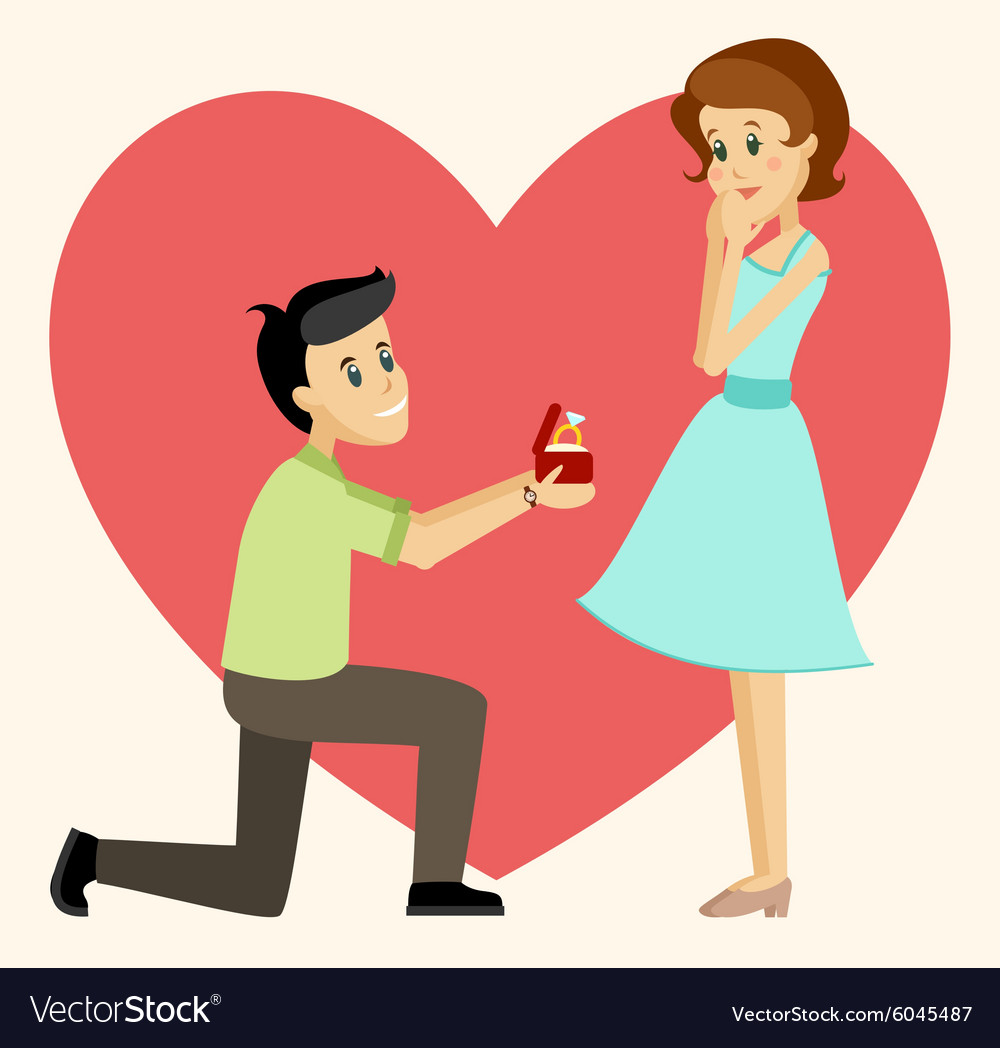 Man makes marriage proposal vector