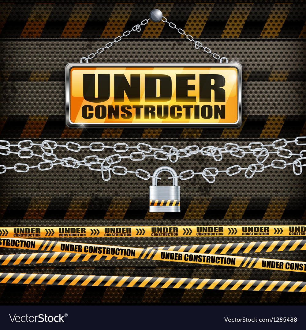 Under construction sign lock vector