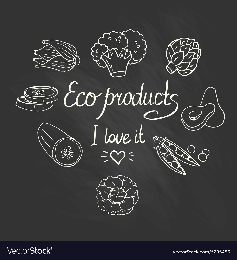 Eco background with vegetables on the chalkboard vector