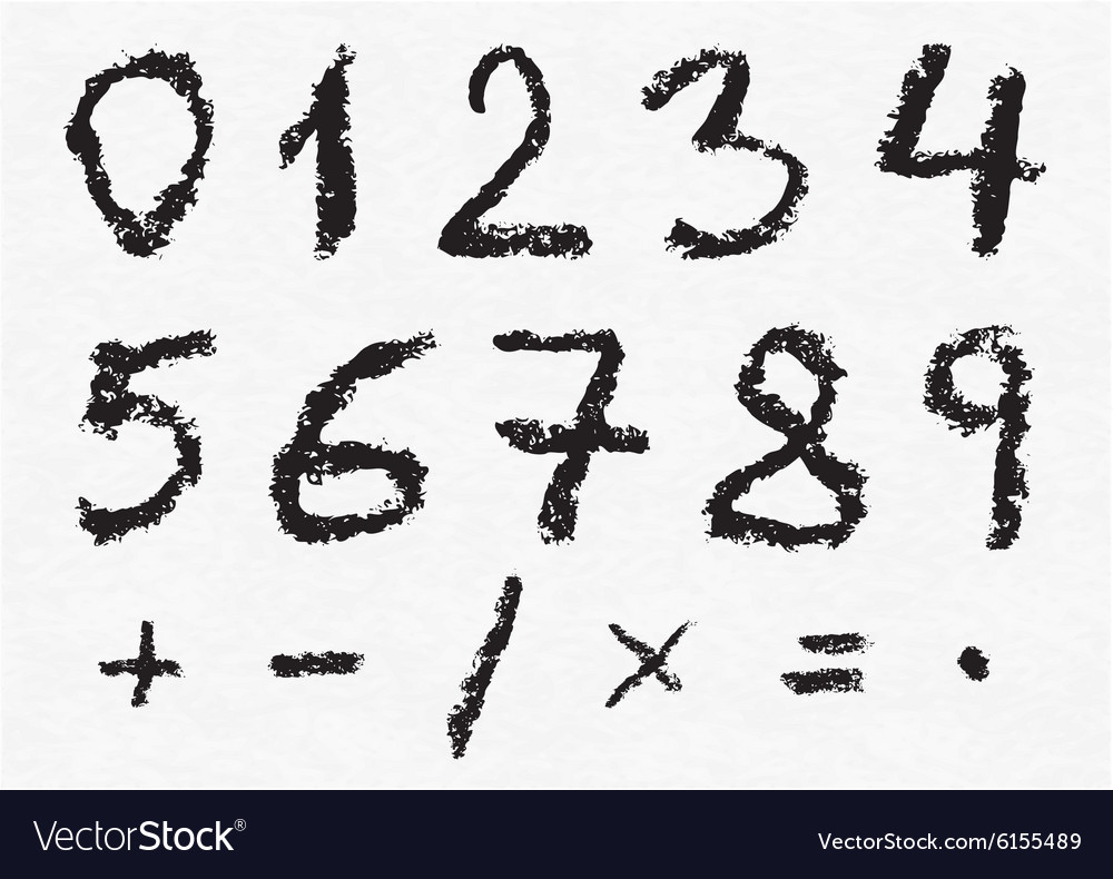 Hand written charcoal numbers vector