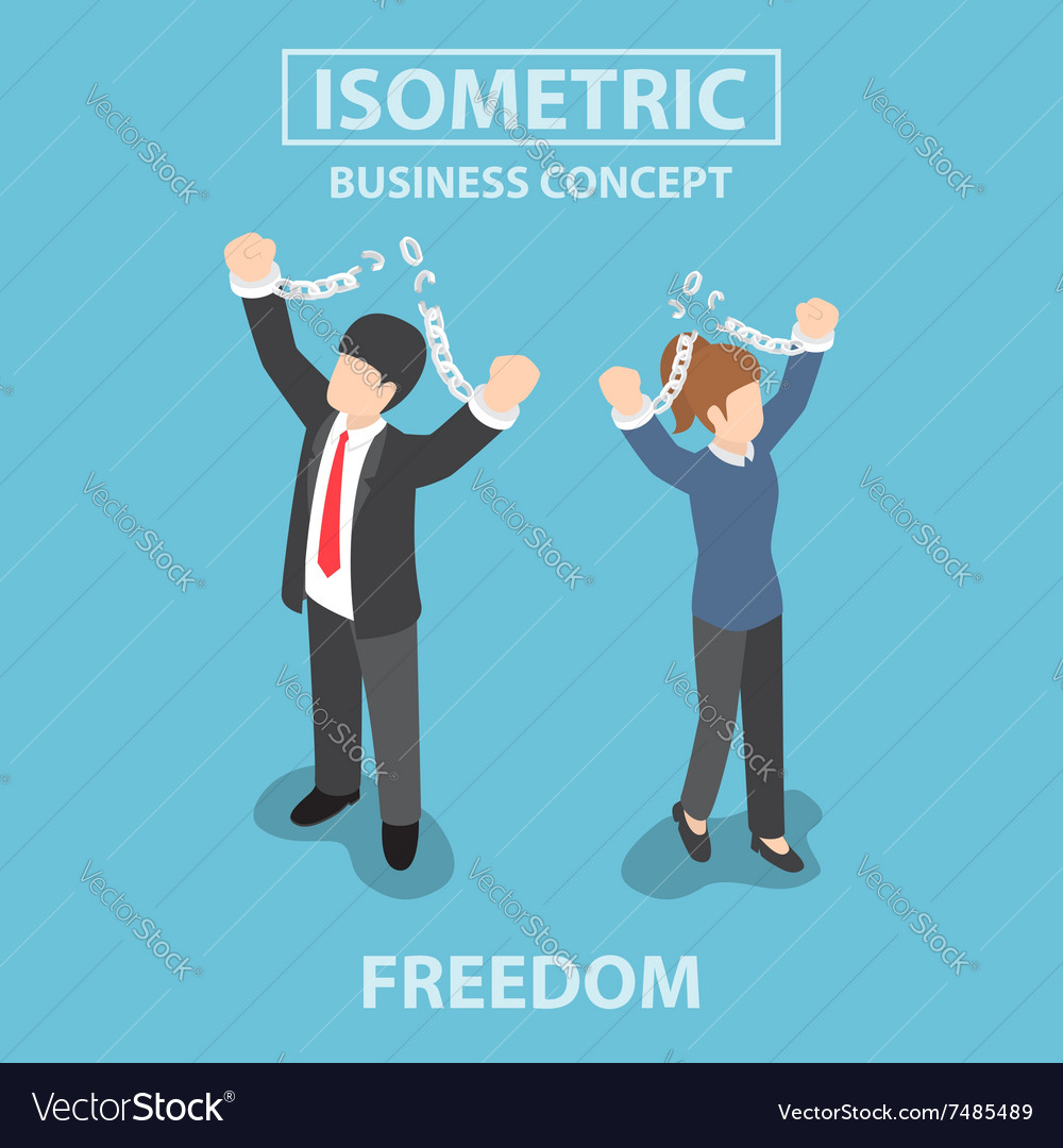 Isometric bsiness people breaking metal chain vector