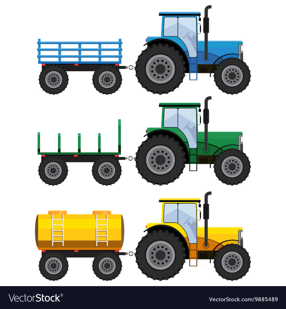 Set of farm tractors with wagons vector