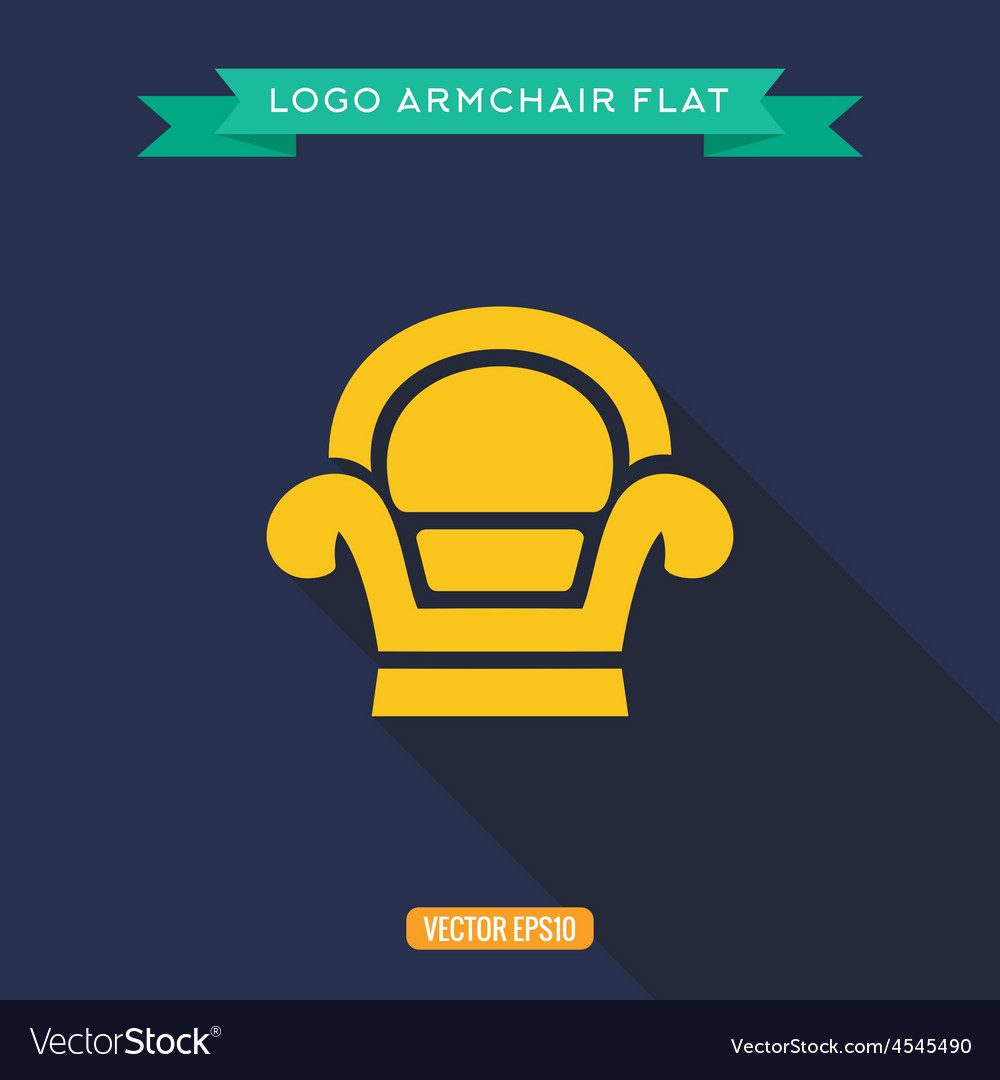 Armchair logo flat icon vector